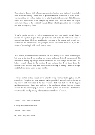 Ideas Collection Cover Letter For Job College Student With