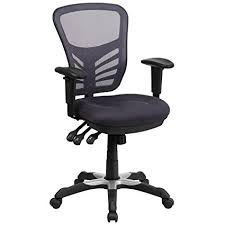 flash furniture mid back dark gray mesh multifunction executive swivel chair with adjule arms