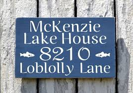 Wood Address Signs Outdoor Decor Lake House Decor Personalized Family Name Signs Outdoor Street 3