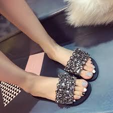 Designer Platform Flip Flops Summer Shoes Woman Rivet Glitter Designer Platform Sandals Women Bling Bling Flip Flops Black Silver Beach Slippers