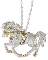 black hills gold sterling silver horse and saddle pendant necklace blackhillsgold direct klugex