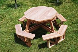 image of round wooden picnic table