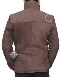 distressed leather jacket in dark brown for men