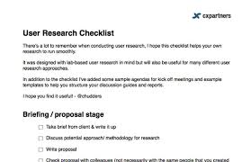 check list example user research checklist cxpartners