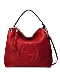 gucci soho large leather hobo bag red