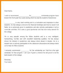 Letter Recommendation For Student Letter Of Recommendation Template For Student Scholarship