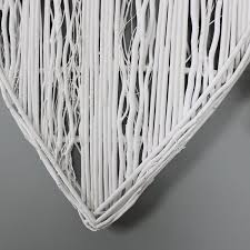 large white wicker wall hanging heart decoration