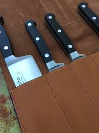 knives case leather brown