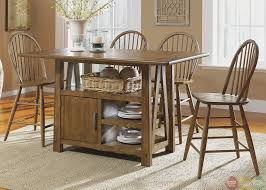 storage dining table set in farmhouse counter height casual round