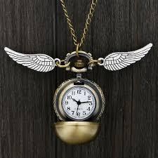 harry potter theme quartz pocket watch hogwarts golden snitch slytherin retro pendant clock classic pocket necklace gifts kids best pocket watch modern
