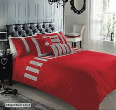 superior cotton diamante sequence lace double duvet quilt cover bedding set red co uk kitchen home