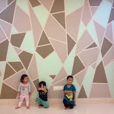 Wall Patterns With Tape Diy Geometric Feature Wall Final Product For This Project We