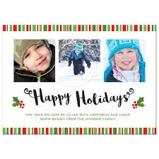 happy holiday card red and green striped border holly and modern sleek and clean happy holiday card photo templates