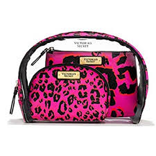 victoria s secret cosmetic bag trio pink print leopard