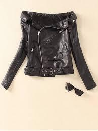 new off shoulder zippered biker jacket black m