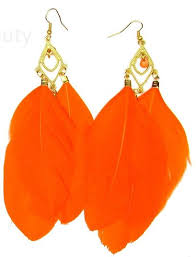 large orange multi feather earrings chandelier boho ibiza gold festival drop long exclusively sold by star crossed beauty e32 in on alibaba