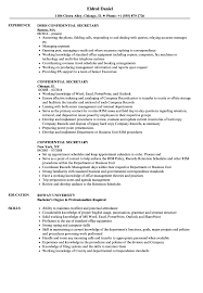 Confidential Resume Example Confidential Secretary Resume Samples Velvet Jobs 1