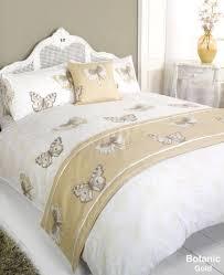 botanic gold single bed size duvet quilt cover set cushion cover bed runner