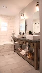 bathroom remodel restoration hardware hack mercantile console table hacked into a double vanity