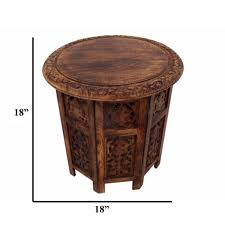 Constructed from mahogany, it features refined details like beveled wood edges, turned. The Urban Port 18 In Brown Small Round Wood Coffee Table Upt 148946 The Home Depot