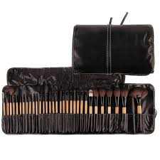 GUJHUI <b>32</b> Pcs <b>Soft Makeup</b> Brushes &PU Leather Case ...