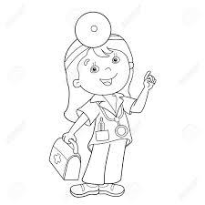 coloring page outline of cartoon doctor with first aid kit profession cine coloring