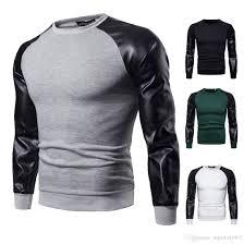long sleeved trends hooded sweater british leather stitching brushed jacket men s round neck sweatshirts men s casual coat