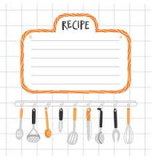 Food Recipe Template Food And Kitchen Recipe Template Recipes Vector Images Over