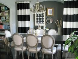 Decorations:Amazing Home Dining Room Design With Black And White Striped  Curtains And Beautiful Crystal