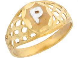 Gold Initial Ring Design Details About 10k Or 14k Two Tone Gold Filigree Design Letter P Initial Ring