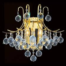 worldwide lighting w23016g16 empire 3 light gold finish and clear crystal wall sconce