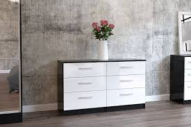Lynx Bedroom Furniture Birlea Lynx 6 Drawer Chest High Gloss Black And White Amazon