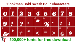 bookman bold swash bold italic font number character map