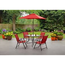 patio dining set folding chairs table umbrella outdoor garden furniture 6 piece