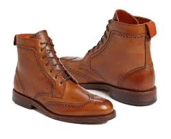 Light Tan Boots Handmade Mens Light Tan Leather Military Ankle High Wingtip Formal Leather Boots