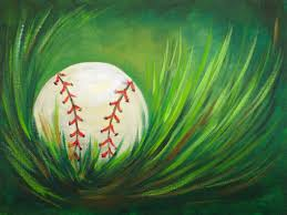 acrylic step by step painting baseball in grass easy beginner tutorial easy baseball in grass