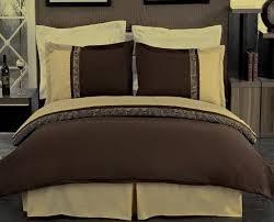 3pc modern greek key brown gold duvet