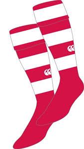 hooped socks red white