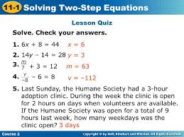 7 solving two step equations