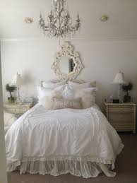 elegant bedroom with beautiful classic crystal chandelier