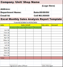 Excel Monthly Analysis Sales Report Template Sales Report