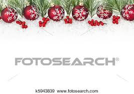 Christmas Ornaments Border Christmas Border With Red Ornaments Stock Photo K5943839