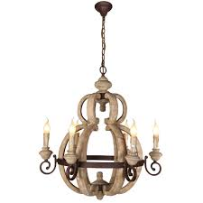 28 inch rustic carved wood rusty metal frame pendant chandelier lamp 6 light headsceiling lights