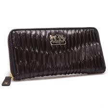 Coach Accordion Zip In Gathered Twist Large Coffee Wallets CCK
