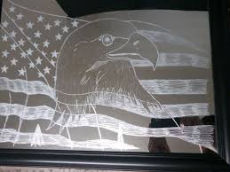 custom made etched glass freehand