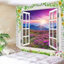 window scenery flower mountain print wall art tapestry