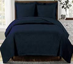 Amazon.com: Modern Navy Blue Scroll Solid Lightweight Quilt ... & Modern Navy Blue Scroll Solid Lightweight Quilt Bedding Set King/Cal King  Oversized Adamdwight.com