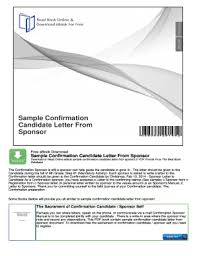 Fillable Online Sample Confirmation Candidate Letter From Sponsor