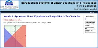 students will solve systems of linear equations and inequalities in two variables using a variety of methods module includes pre assessment