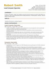 Computer Specialist Resume Samples Qwikresume